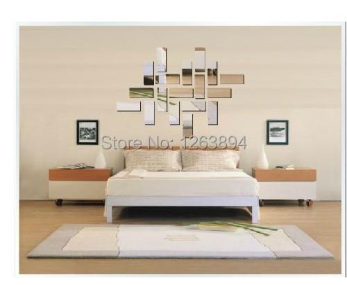 Permalink to 2014  Hot selling oblong wall mirror sticker , 18ps per lot decorative mirror sticker , sofa TV backing wall decorative mirror