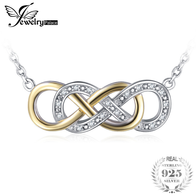 JewelryPalace Infinity 0.08ct Cubic Zirconia Necklace Genuine 925 Sterling Silve