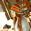 New Arrival Women's Fashion Accessories Autumn Winter Headdress Caps Hat Colorful Striped Scarf Beanies Multi Use