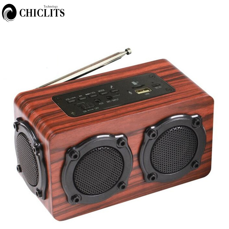 Wooden Stereo Bluetooth Speaker Portable Wireless Hifi Subwoofer Sound Box Support FM MP3 Built-In Microphone