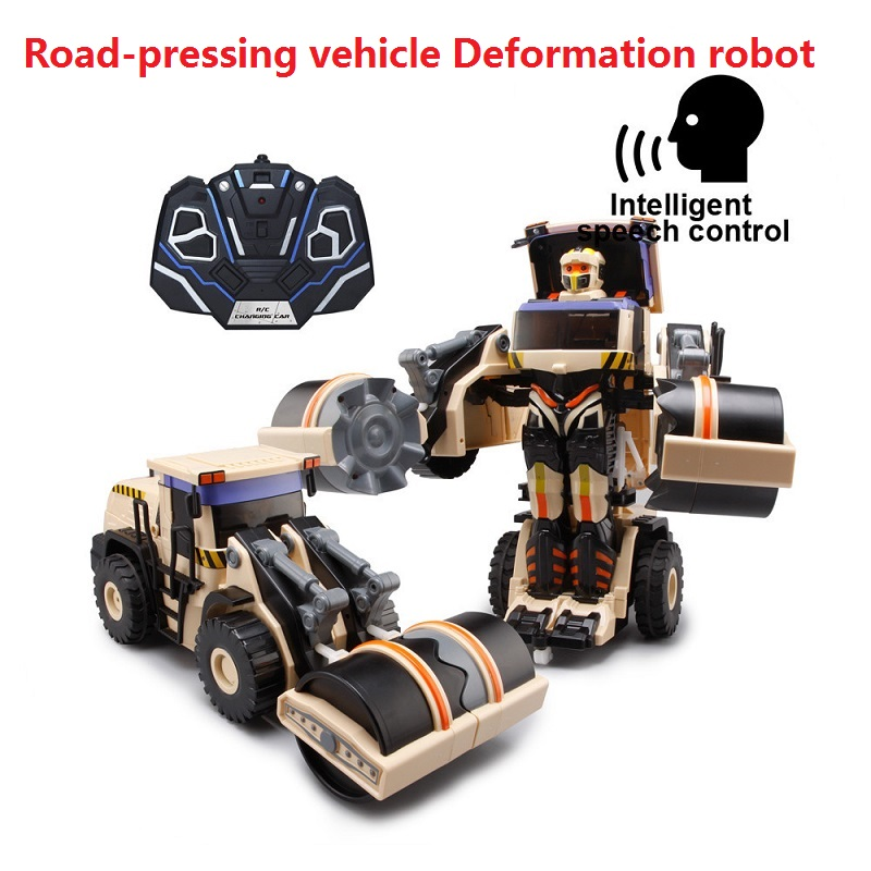 цена на 2.4G voice control car one key deformation humanoid intelligent dancing robot toys Remote control educational truck robot