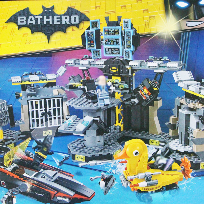 building bricks Batman 1047Pcs 07052 Genuine Batman Movie Batcave Break-in Building Blocks Bricks Education Kit Toys 70909