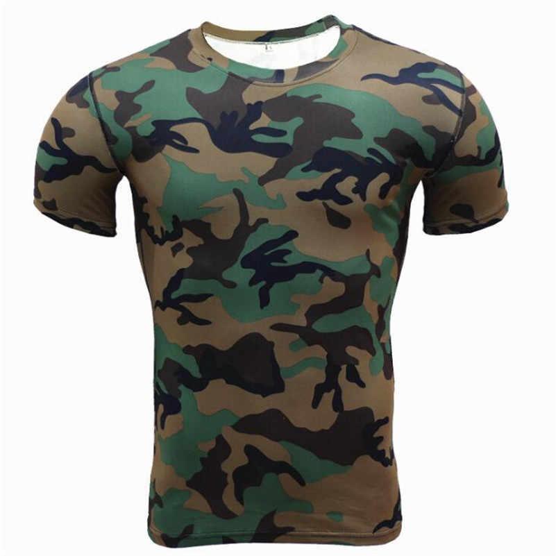 Kompresji t koszule kamuflaż Crossfit Fitness męskie rajstopy koszulka kulturystyka trening topy szybkie pranie odzież marki mężczyzna X520