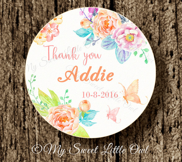 custom flower wedding thank you stickers bottle labels cupcake