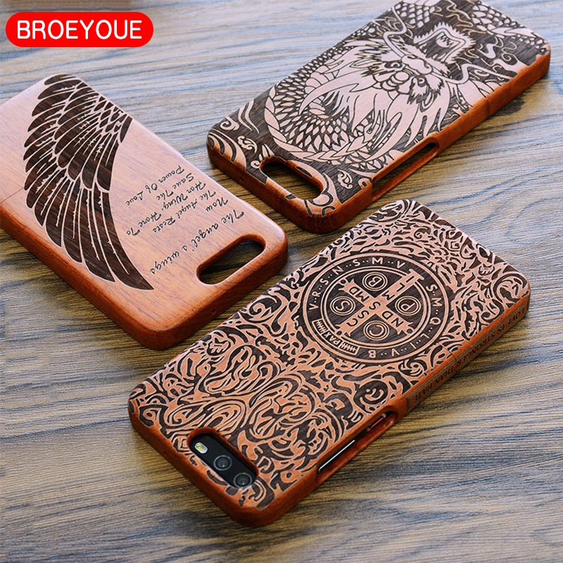 BROEYOUE Coque For Huawei P10 P9 P8 Plus Lite Mate 9 8 7 Honor V9 9 8 7 Wood Natural Bamboo Carving Design Phone Cases Cover