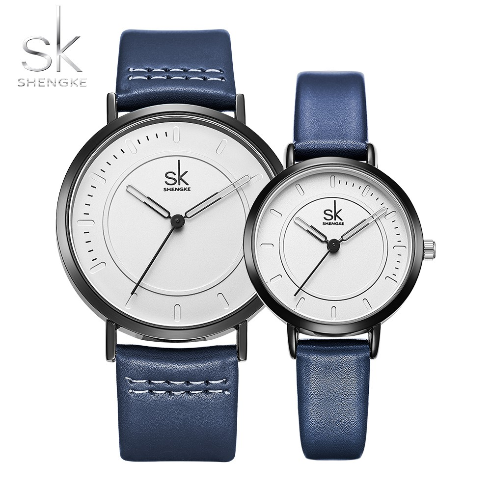 327f59df92b4 SK Brand New Watch Quartz Men Ladies Wrist Watches Analog Blue Fashion  Simple Leather Strap Valentine Love Birthday Gift Couple-in Lover s Watches  from ...