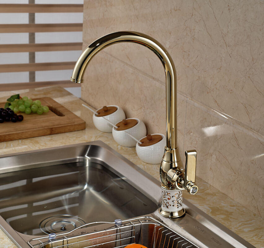 Single Lever Golden Brass Kitchen Faucet Deck Mount Cold and Hot ...