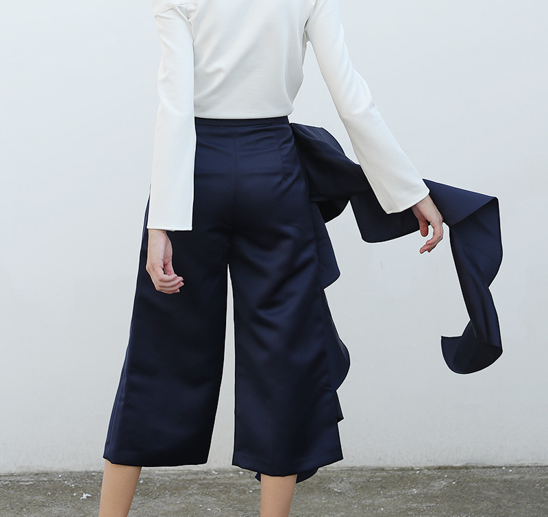 Tamaño Moda Blue Más Navy Azul Mobtrs Mujeres Decoración Pantalones Casuales Nuevo Straight Irregular Zqtx7OIwx