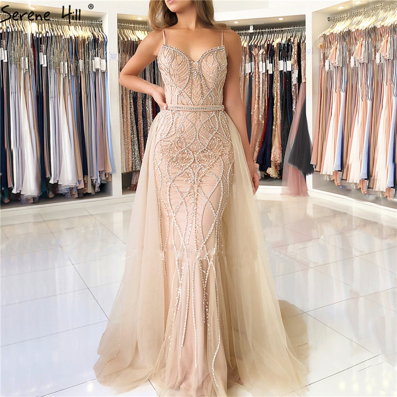 Dubai Luxury Pearls Crystal Evening Dresses Long 2019 White Nude Backless Mermaid Evening Gowns Real Photo LA6242