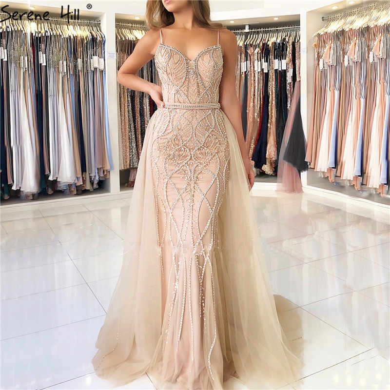 Pérolas de Cristal de Luxo de Dubai Vestidos de Noite Longo 2019 Branco Nudez Backless Mermaid Evening Vestidos Real Photo LA6242