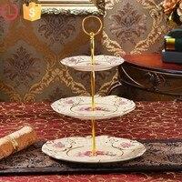 3 camadas do bolo/Pastelaria prato de frutas de Cerâmica Real Conjuntos de Acessórios de Cozinha Bandeja de Frutas Pratos & Bocas Lidar Com linha de Ouro dois tamanho