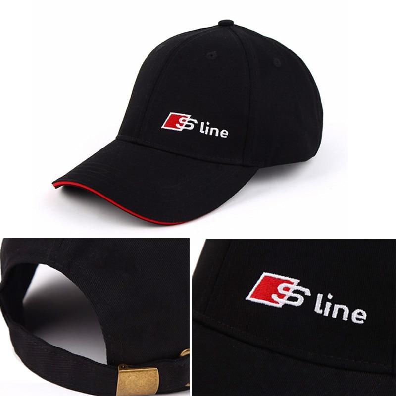 Car S line hat Sline logo racing baseball cap For Audi A6 C5 C6 A4 B6 B8 80  A1 A8 TT Q7 Q5 Q3 A3 A5 A7 S line B5 B7 for ... ad41e069456