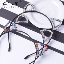 Girls Rhinestone Cat Ear Hairband Black Hair Band Rabbit Headband Newborn Scarf Accessories For Photography Party