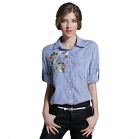 Blue T-Shirts 2017 Striped Turn-down Collar T-Shirt Women Long Sleeves Floral Embroidery Women's Clothing Plus Size Tops N611A