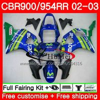 Body For HONDA CBR900RR CBR 954 RR CBR900 RR RR 55SH5 CBR 900RR CBR954RR 02 03 CBR 954RR Movistar Blue CBR9542002 2003 Fairings