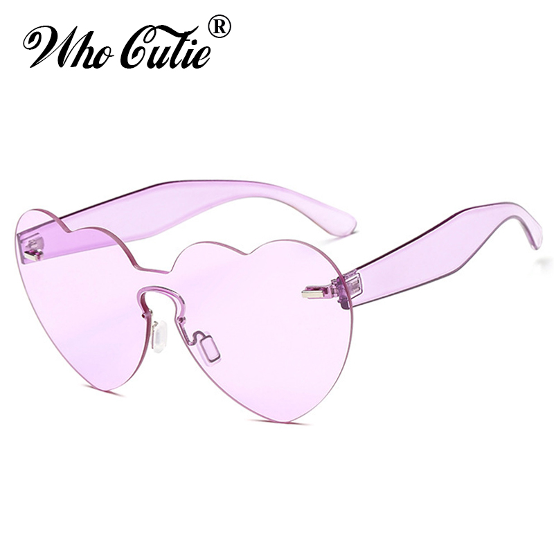 WHO CUTIE 2018 Love Heart Shaped Sunglasses Women Rimless Frame Vintage Cateye Sun Glasses Red Pink Yellow Purple Shades OM557