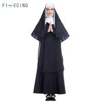 Nun Costume Virgin Mary Cosplay Girl Women Adult Fancy Easter Missionary Sister Black Dress Halloween Carnival Festival Suit