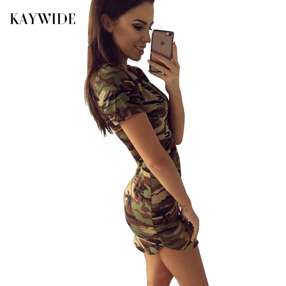 2017 New Fashion Women Summer Dress Short Sleeve Sexy Mini Dresses women Green Camouflage Print Woman Vestidos