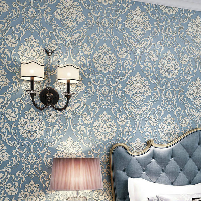 где купить  Damask Wallpaper 3D Mural Wallpapers Non-Woven Flock Floral Wallpaper for Walls Flower Paper Embossed papel de parede para sala  дешево