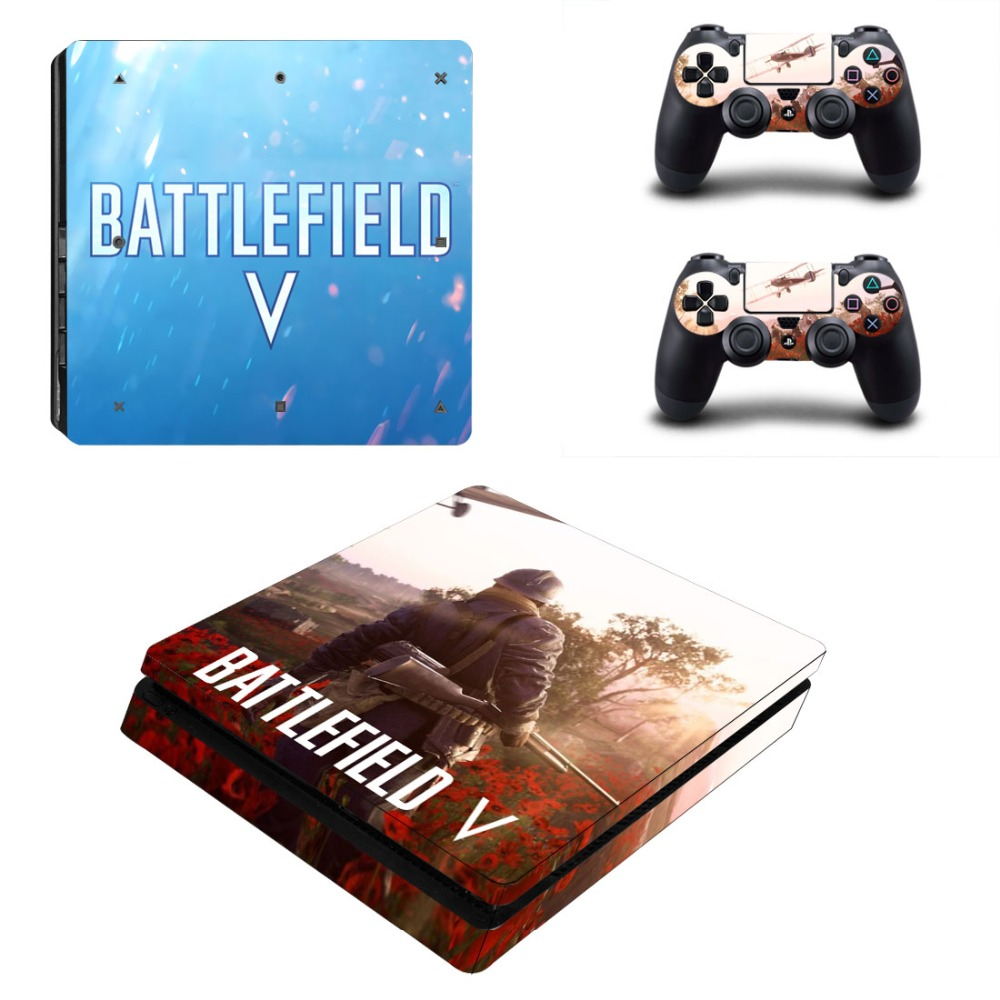 Game Battlefield V PS4 Slim Skin Sticker Decal Vinyl for Playstation 4 Console and Controller PS4 Slim Skin Stickers