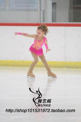 girl ice skating dress pink figure skating dress free shipping custom skating dresses for competition high elastic