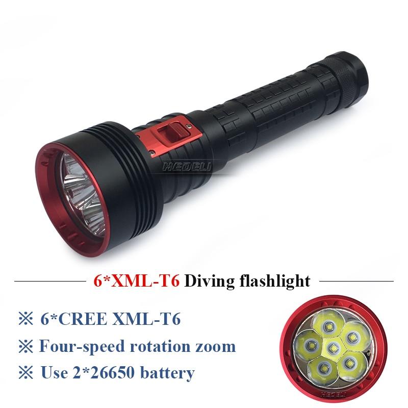 100m Underwater scuba flashlights diving flashlight CREE xml 6t6 led torch 26650 battery waterproof lamp lanterna de mergulho