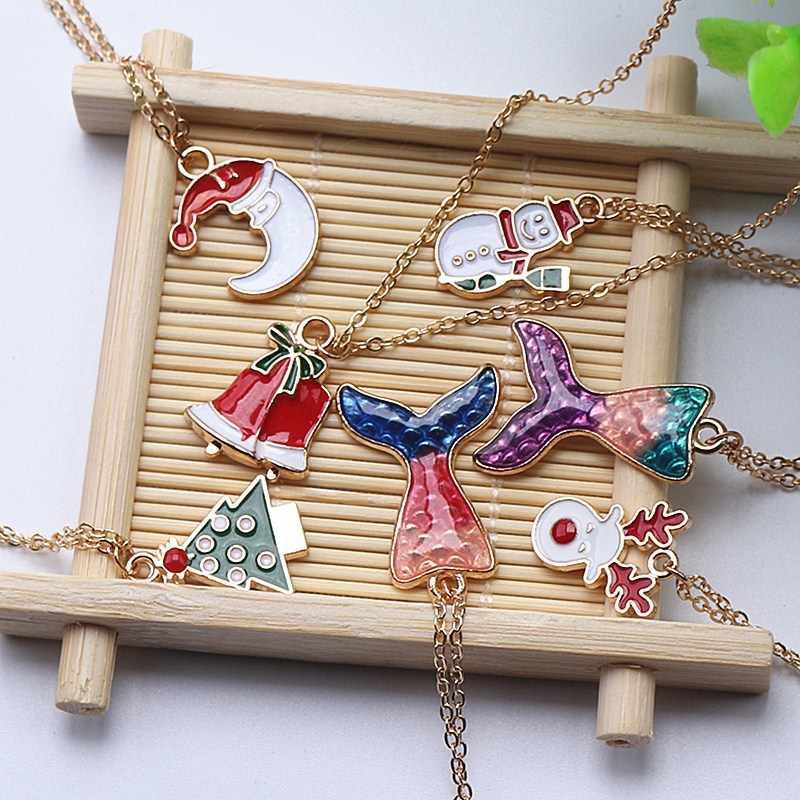Weihnachten Halskette Für Frauen Mädchen Geschenk Emaille Schmuck 7 Stil Santa Schneemann Baum Anhänger Halskette Weihnachten Geschenk Neue Jahr