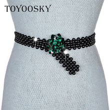 TOYOOSKY 2018 New Fashion Women Belt Faux Pearl Faux Crystal Rhinestone Flower Chain Belt for Women For Dress Handmade Knitted faux pearl
