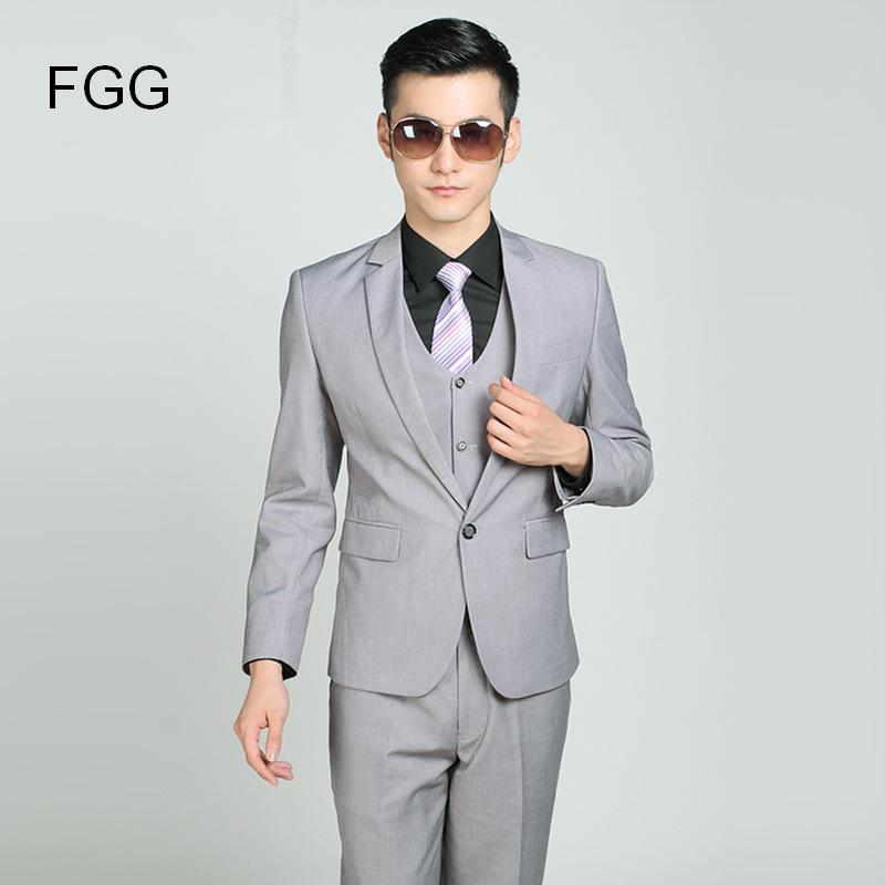 Online Shop italian Wedding Suits Men Light Gray Single Button ...