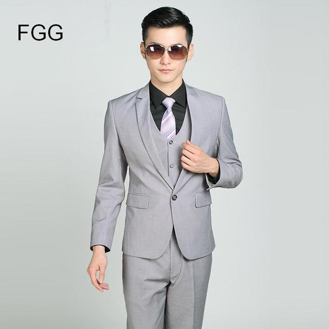 Italian Wedding Suits Men Light Gray Single Button Brand Professional Business Suit Slim Fit Groom Wedding