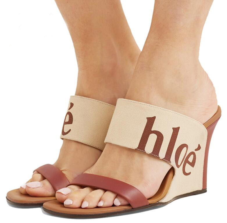 2019 double plaque with letter sandals printed canvas real cow leather 9CM wedge sandals women brand shoes with box2019 double plaque with letter sandals printed canvas real cow leather 9CM wedge sandals women brand shoes with box