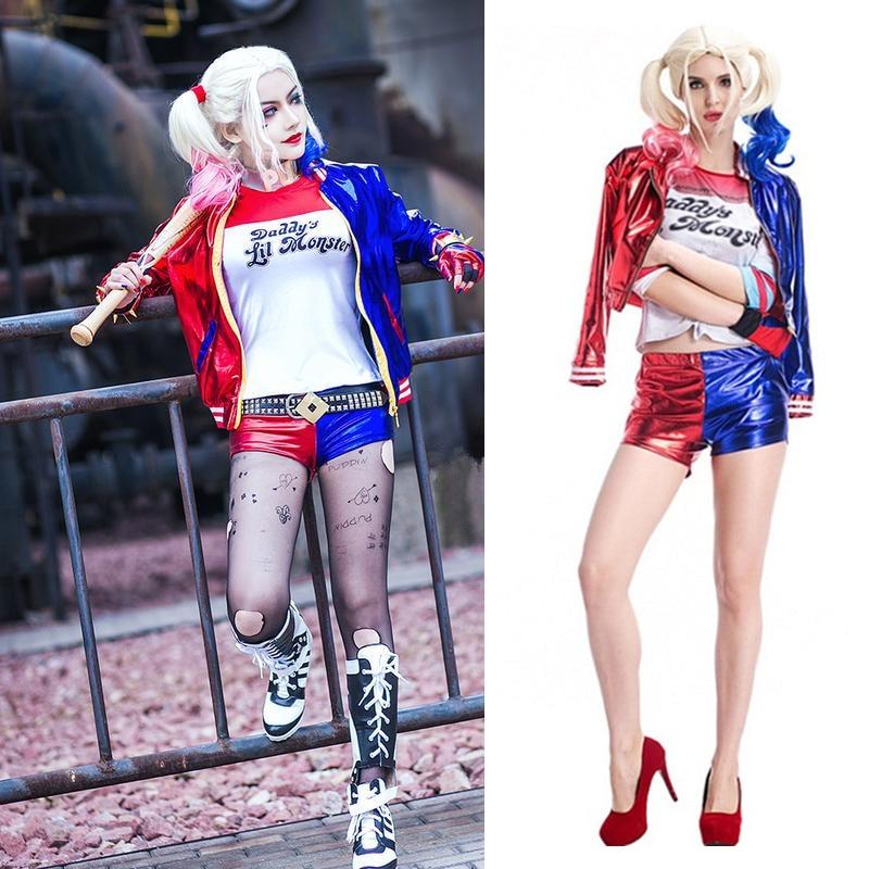 Nueva Mujer niñas Harley Quinn camisetas Top chaqueta con peluca traje Suicide Squad cosplay Navidad Año Nuevo disfraces de Halloween