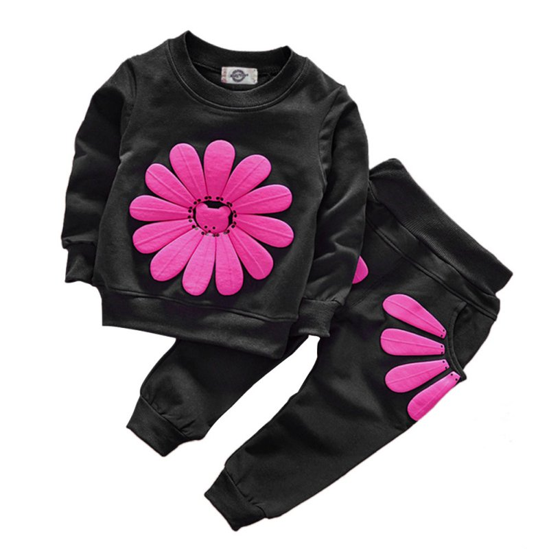 2pcs spring autumn children clothing set baby girls sports suit sunflower casual costume hoodies 20