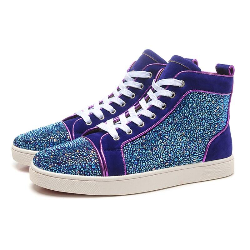 Роскошные Rhinstone Для мужчин s Мокасины брендовые летние Для мужчин высокие кроссовки Beathable сетки мужская повседневная обувь на шнуровке носо