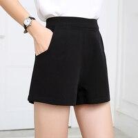 שחור שיפון קיץ נשים מכנסיים קצרים מכנסיים קצרים גבוה Waisted עבור נשים כיס רחב רגל מכנסיים קצרים חמים קצר Femme קצרה Feminino