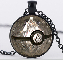 Cosplay Jewelry Assassin's Creed Pokemon Inspired Pendant glass Necklace Pendant 3 colors around Necklace Silver For Men