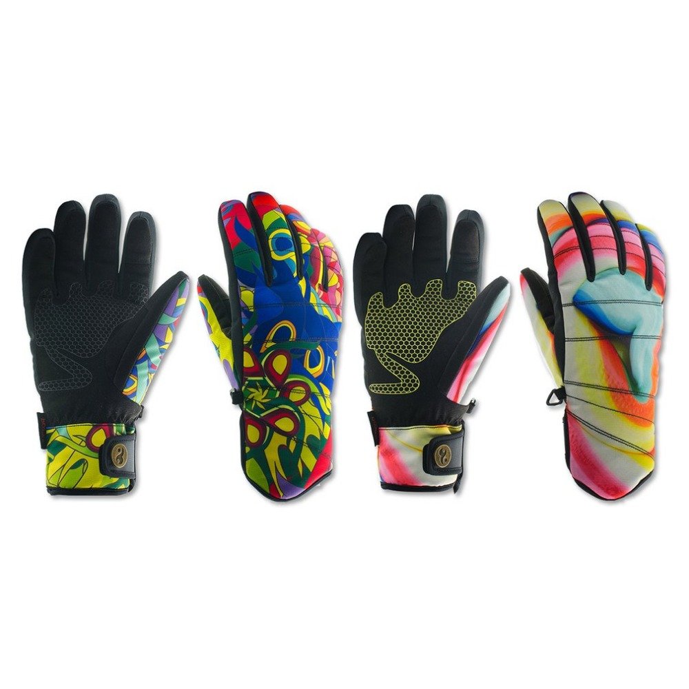 Skiing Gloves Keep Warm Waterproof Windproof Non-slip Flexible Snow Skating Gloves Winter Stylish Printing Gloves
