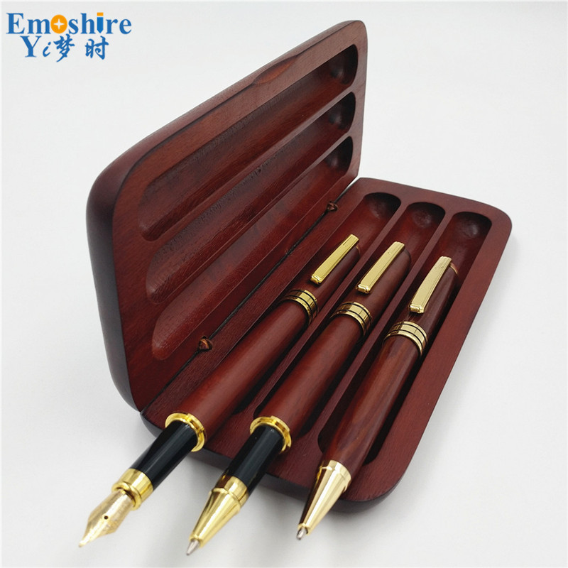 Custom Logo Brand Stationery Three Pcs Roller Ball Pen Fountain Pen BallPoint Pen Wooden Pencil Case With Pencil Box P666
