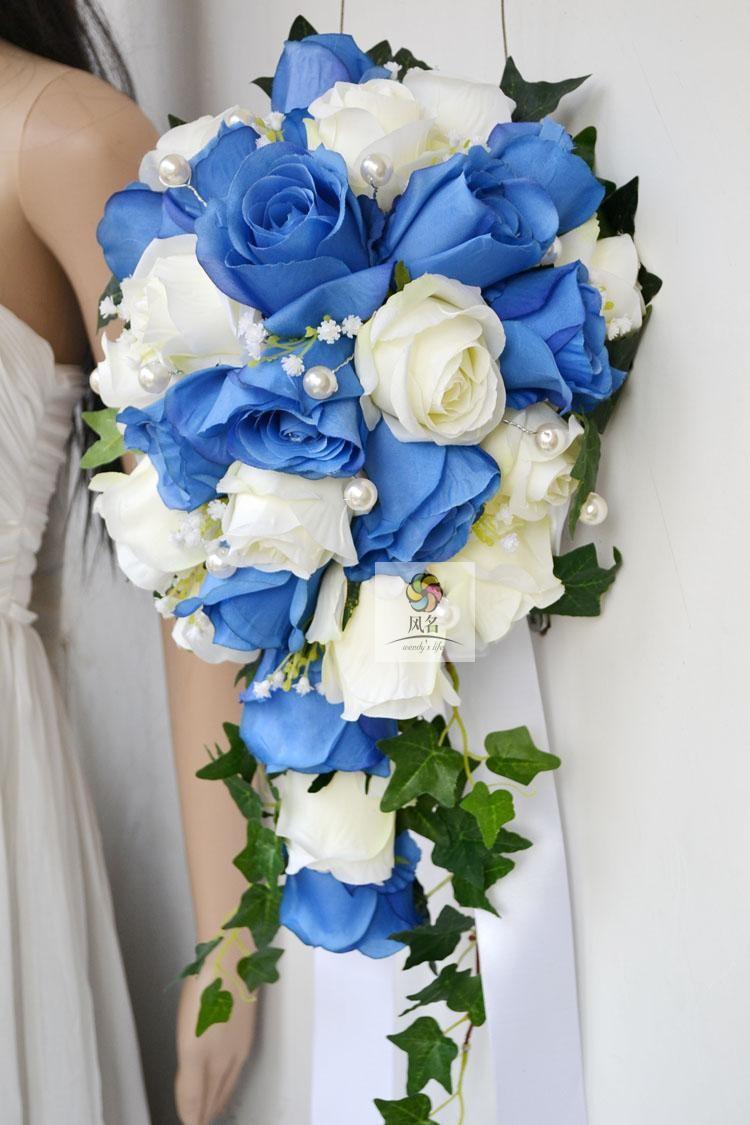 Blue white Waterfall Elegant Wedding Bouquets Artificial Bridal Brooch Bouquet Wedding Bouquet For Brides Bruidsboeket 2017 1