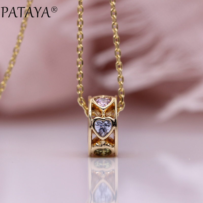 PATAYA New Love Gift Long Necklaces 585 Rose Gold Women Wedding Fashion Jewelry Colorful Natural Zircon Luxury Small Pendants