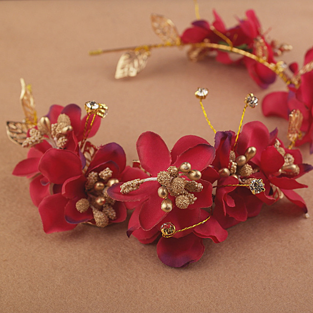 2016 Fashion Red Flower Headband Cloth Hairband Handmade Headpiece Crown  Bride Fascinator Gifts Wedding Tiaras Accessories ed08f0ad987