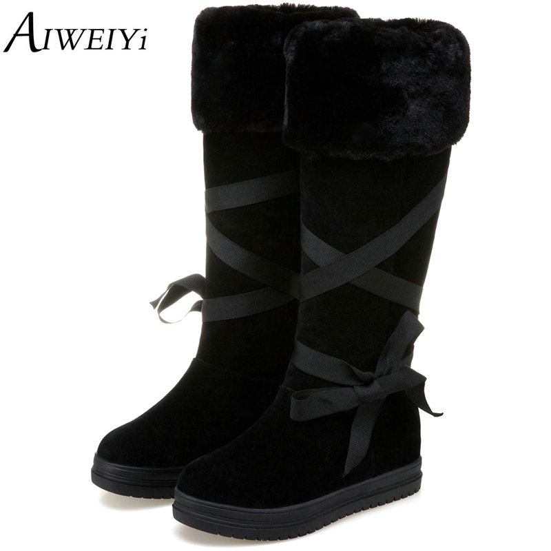 AIWEIYi Women Knee High Boots 2017 Flat Heel Women Lace Up Thick Platform Winter Shoes With Fur Snow Boots Black Casual Shoes 2016 new arrive keep warm high heel snow boots fashion thick fur platform knee high winter boots for women shoes