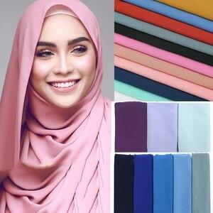 Image 1 - Malaisie Design instantané plaine bulle en mousseline de soie écharpe châles haute qualité Hijab musulman foulards 180*75 cm 47 couleurs