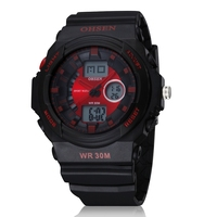 2015 OHSEN Men Sports Military Watches Brand Fashion Casual Wristwatch Analog Digital Watch Alarm EL Seconds