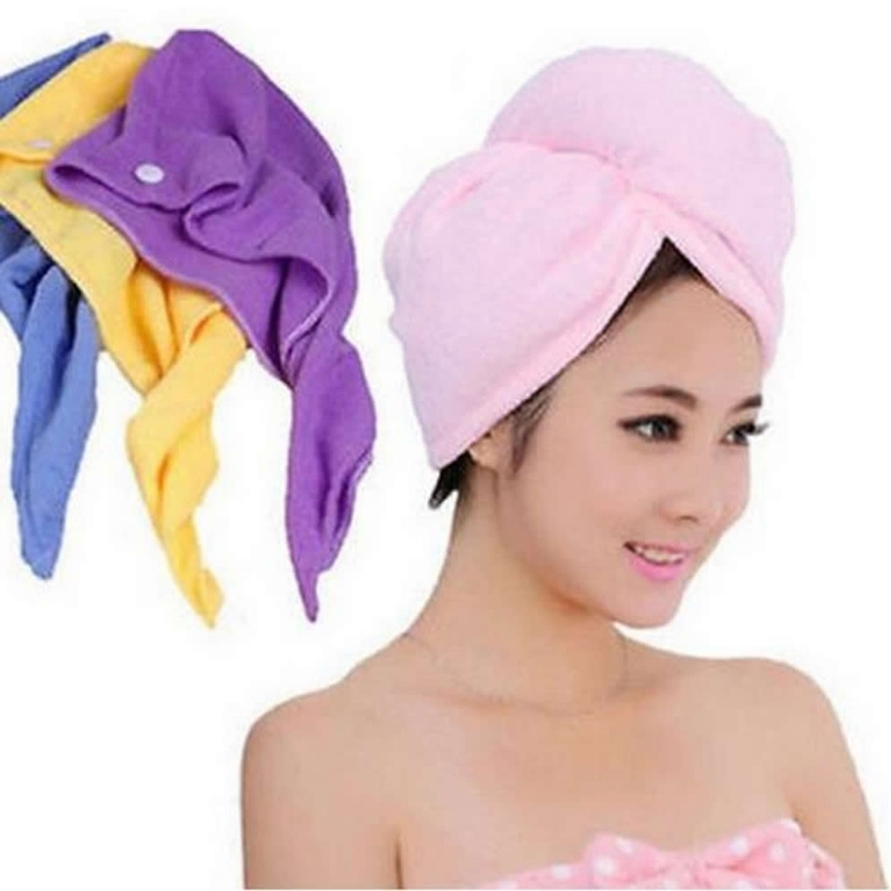 4 գույներ, արագորեն չորացնելով մազերի գլխարկը Microfiber- ի պինդ մազերը, տուրբանուհիները, աղջիկները, տիկնայք գլխարկով, լողանալու գործիք