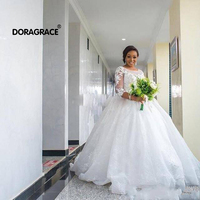Doragrace vestido de noiva Custom Made 3/4 Sleeve Applique Lace Wedding Gowns Ball Gown Wedding Dresses Plus Size