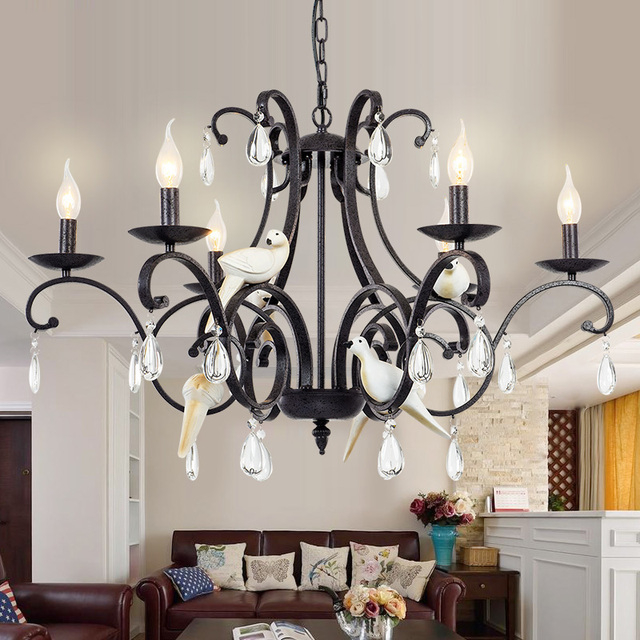Home Modern Black 6 Arm Led Chandelier Wrought Iron Chandeliers Restaurant Living Room Crystal Hanging Lamp