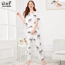 d62b79d7716fbb Dotfashion biały Cartoon Zebra druku piżamy ustawić 2019 wiosna piżama dla  kobiet dorywczo nocna lato krótki rękaw Loungewear