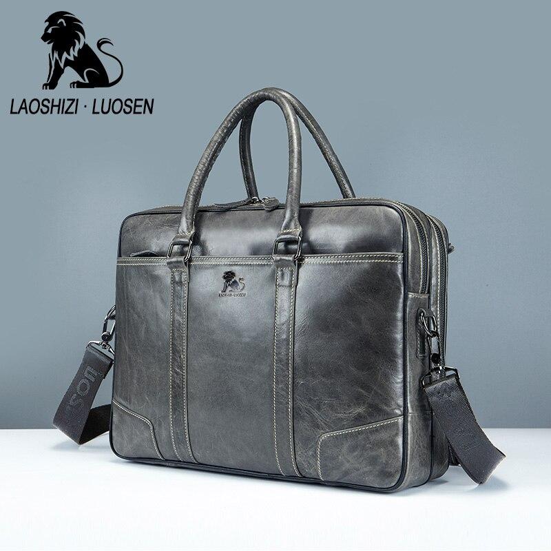 LAOSHIZI LUOSEN hommes porte-documents en cuir véritable hommes sac à main pour ordinateur portable mâle vache épaule Messenger sacs mallette d'ordinateur d'affaires