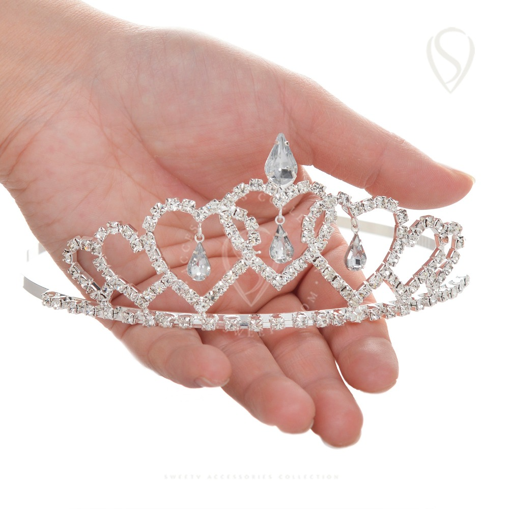 Heart shaped Princess Tiara Crystal Crown for Girls Children ...